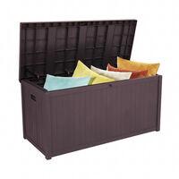 Outdoor Plastic Storage Box, Garden 113gal 430L Storage Resin Deck Bench Box Furniture Lockable Waterproof (Brown)