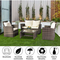 Rattan Sofa Set of 4, 2pcs Arm Chairs 1pc Love Seat & Tempered Glass Coffee Table Conversation Set with 4pcs Beige Cushions for Outdoor Garden Patio Yard Furniture (Grey)
