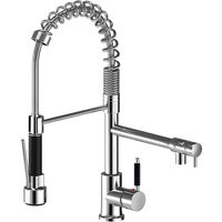 Pull Out Kitchen Sink Mixer Tap, 2 in 1 Copper Kitchen Faucet & 360° Rotate Stainless Steel Pull Down Sprayer, 2 Water Outlet Modes (Chrome)