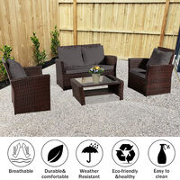 Rattan Sofa Set of 4, 2pcs Arm Chairs 1pc Love Seat & Tempered Glass Coffee Table Conversation Set with 4pcs Dark Gray Cushions for Outdoor Garden Patio Yard Furniture (Brown)