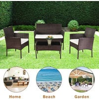 Rattan Sofa Set of 4, 2pcs Armchairs 1pc Love Seat & Tempered Glass Coffee Table Conversation Set with White Cream Cushion for Outdoor Garden Patio Yard Furniture (Brown)