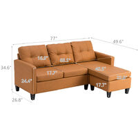 Leather Corner Sofa Set, L Shape Combination Sofa Bed, 3 Seater Couch with Lounge Ottoman for Living Room Furniture (Light Brown)