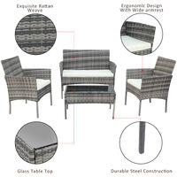 Rattan Sofa Set of 4, 2pcs Armchairs 1pc Love Seat & Tempered Glass Coffee Table Conversation Set with White Cream Cushion for Outdoor Garden Patio Yard Furniture (Light Grey)