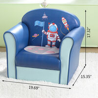 Kids Single Sofa, Mini Children Astronaut Pattern Leather Armchair with Wood Frame for Bedroom Playroom Furniture (Blue)