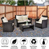 Rattan Sofa Set of 4, 2pcs Arm Chairs 1pc Love Seat & Tempered Glass Coffee Table Conversation Set with 4pcs Beige Cushions for Outdoor Garden Patio Yard Furniture (Black)