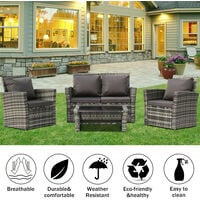 Rattan Sofa Set of 4, 2pcs Arm Chairs 1pc Love Seat & Tempered Glass Coffee Table Conversation Set with 4pcs Dark Gray Cushions for Outdoor Garden Patio Yard Furniture (Light Grey)