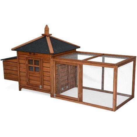 Poulailler en bois JAVA, 4 poules, cage à poule avec enclos