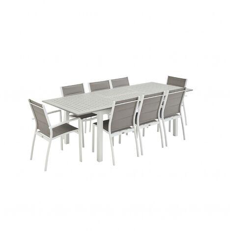 Salon de jardin Chicago 8 places table à rallonge extensible 175/245cm alu textilène Blanc / Taupe