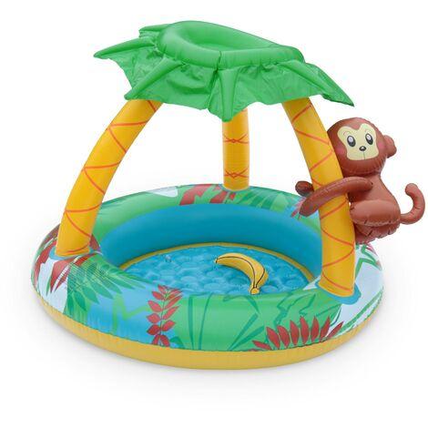 Pataugeoire gonflable JUNGLE, piscine pour bébé avec pare-soleil et jeux, 100 x 80 cm