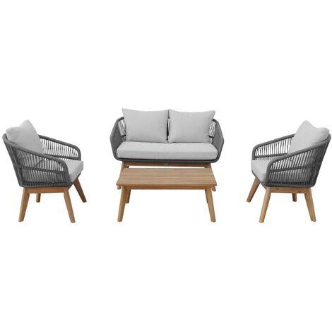 Salon de jardin 4 places – ROSARIO – en corde tressée. bois et aluminium Gris / Gris chiné