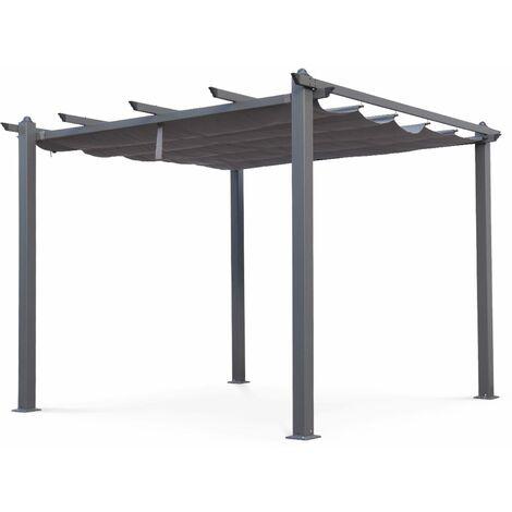 Pergola aluminium - Condate 3x3m - Toile grise - Tonnelle idéale pour votre terrasse. toit retractable. toile coulissante. structure aluminium. pieds larges et robustes