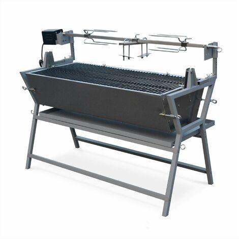 Rôtissoire électrique inclinable - Mathurin Inox - Tournebroche barbecue au charbon de bois à moteur pour grillades réceptions
