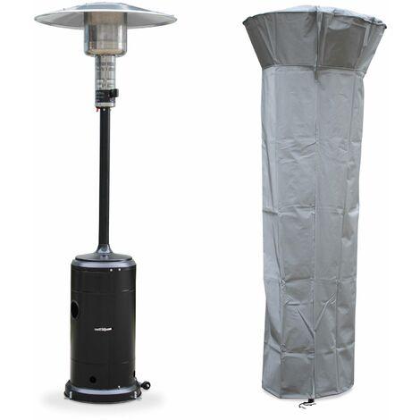 Chauffage d'extérieur gaz 12.5kW - Finland - Parasol chauffant noir. réglable. porte en façade. roulettes et housse