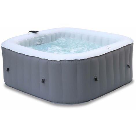 Spa MSPA gonflable carré – Fjord 4 gris - Spa gonflable 4 personnes carré 160cm, PVC, pompe, chauffage, gonfleur, 2 cartouches filtrantes, bâche, diffuseur et télécommande de contrôle