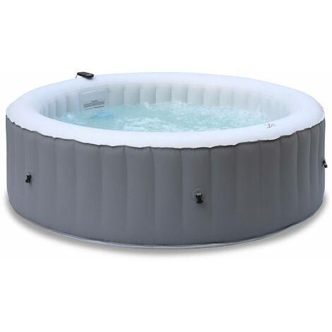 Spa MSPA gonflable rond – Kili 6 gris - Spa gonflable 6 personnes rond 205 cm PVC pompe chauffage gonfleur 2 cartouches filtrantes bâche diffuseur et télécommande de contrôle