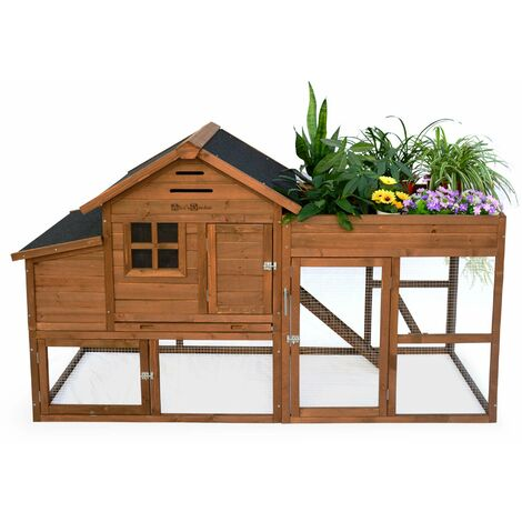 Poulailler en bois avec carré potager CAMPINE, 4 poules, cage à poule avec enclos, poulailler avec jardinière
