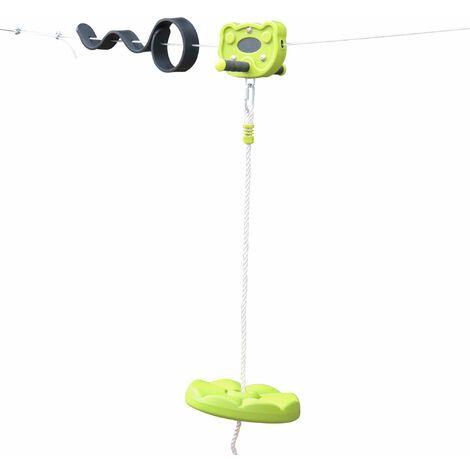 ALIZE - Tyrolienne pour enfants de 30m avec balançoire disque poignées antidérapantes système d'amortissement