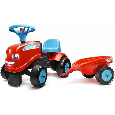 Porteur tracteur Go! rouge Martin pour enfant + remorque, autocollants inclus
