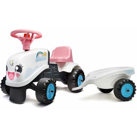 Porteur tracteur Rainbow blanc Karine pour enfant + remorque, autocollants inclus