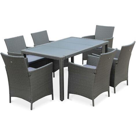 Salon de jardin Tavola 6 en résine tressée. table d'extérieur 150cm avec 6 fauteuils Gris / Gris