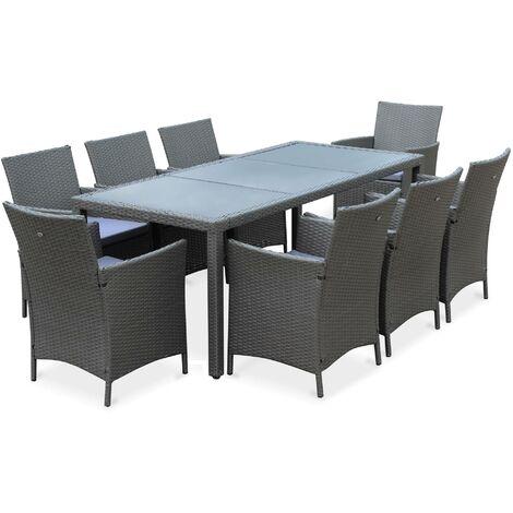 Salon de jardin Tavola 8  en résine tressée, table d'extérieur 195cm avec 8 fauteuils Gris / Gris