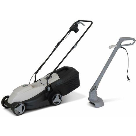 VOLTR - Pack électrique tondeuse à gazon Ø32cm 1300W + débroussailleuse Ø22cm 250W - Collecteur herbe. coupe bordures. ensemble tonte.