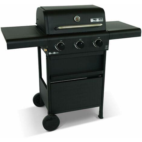 Barbecue gaz 3 brûleurs, tablettes rabattables - Bonacieux - noir, avec rangement
