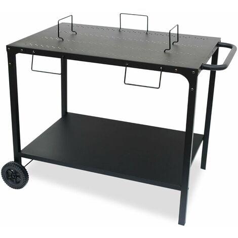 Desserte extérieure noire en acier modulable pour plancha avec deux roues