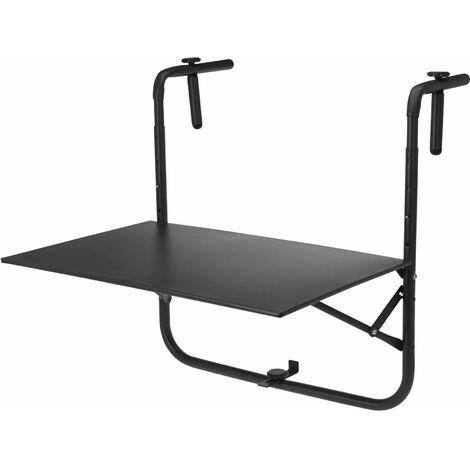 Table de balcon en acier gris clair, table suspendue , plateau de 60 x 43 cm, hauteur et accroche réglables, tablette rabattable