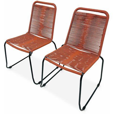 Lot de 2 chaises de jardin en corde BRASILIA, terracotta, empilables, extérieur