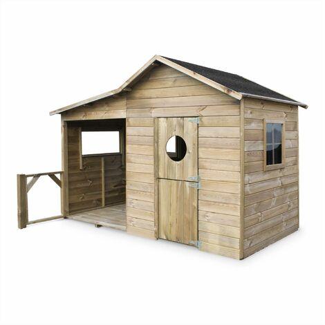 Maisonnette en bois Camelia de 3m² avec véranda. pin autoclave. cabane enfants