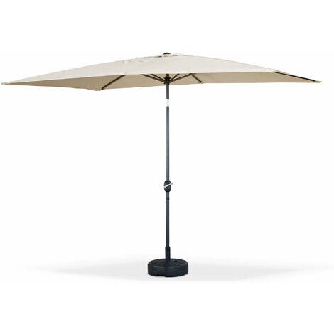 Parasol droit rectangulaire 2x3m - Touquet Sable - mât central en aluminium orientable et manivelle d'ouverture