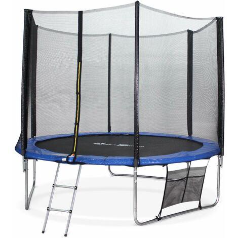 Trampoline 305cm - Mars XXL Bleu - avec filet de protection, échelle, bâche, filet pour chaussures, kit d'ancrage, trampoline de jardin 305 cm  Qualité PRO Normes EU