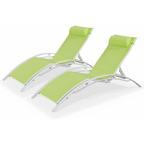 Duo de bains de soleil en aluminium et textilène Louisa Blanc / Vert