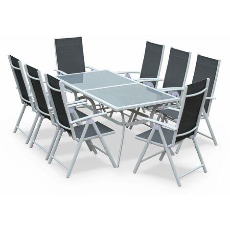 Salon de jardin en aluminium table 8 places textilène fauteuil Blanc / Gris