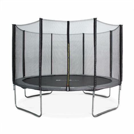 Trampoline rond Ø 370cm gris avec son filet de protection - Saturne - Trampoline de jardin 370 cm 3m| Qualité PRO.| Normes EU.