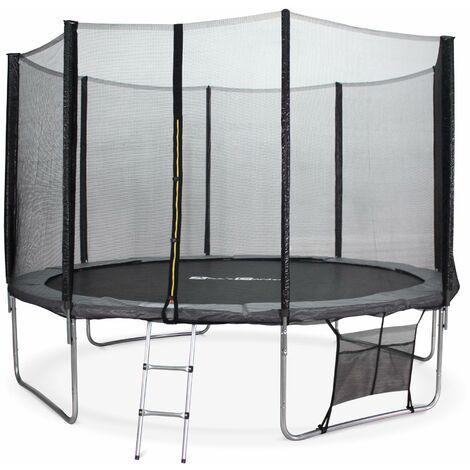 Trampoline 370cm - Saturne XXL Gris - avec filet de protection. échelle. bâche. filet pour chaussures. kit d'ancrage. trampoline de jardin 370 cm  Qualité PRO Normes EU