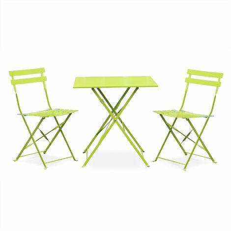 Salon de jardin bistrot pliable - Emilia carré vert anis - Table carrée 70x70cm avec deux chaises pliantes, acier thermolaqué, chaises avec lames incurvées