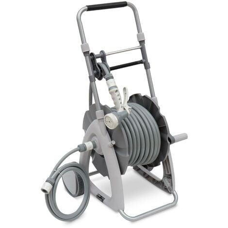 Dévidoir sur roues 30m. enrouleur avec tuyau d'arrosage. raccord et pistolet d'arrosage fournis