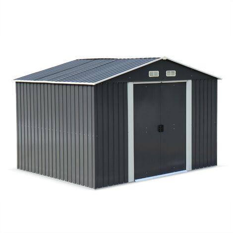 Abri de jardin en métal - WEPPES 7 m² anthracite - Cabane à outils avec deux grandes portes coulissantes. kit de fixation sol inclus. maison de rangement. remise
