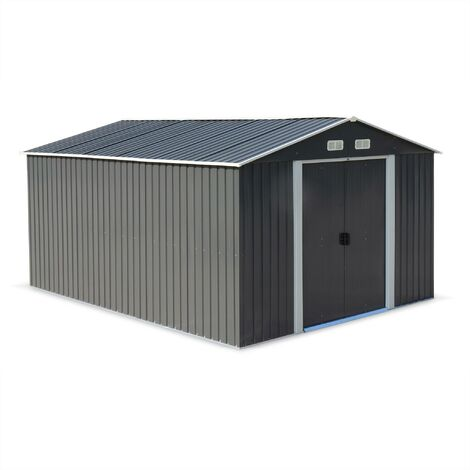 Abri de jardin en métal – MELANTOIS 12 m² anthracite - Cabane à outils avec deux grandes portes coulissantes. kit de fixation sol inclus. maison de rangement. remise