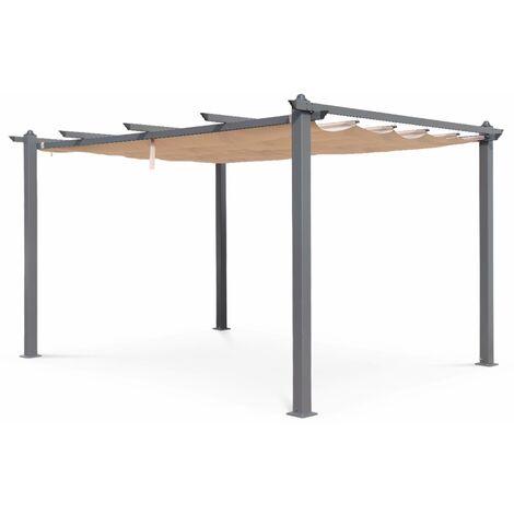 Pergola aluminium - Condate 3x4m - Toile beige - Tonnelle idéale pour votre terrasse. toit retractable. toile coulissante. structure aluminium. pieds larges et robustes