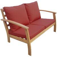 Salon de jardin en bois 4 places - Ushuaïa - Canapé. fauteuils et table basse en acacia. design Bois / Terra cotta