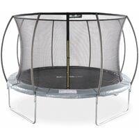 Trampoline rond Ø 370cm gris avec filet de protection intérieur - Saturne Inner – Nouveau modèle - trampoline de jardin 3.7m 370 cm  Design  Qualité PRO.   Normes EU.