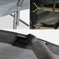 Trampoline rond Ø 370cm gris - Saturne Inner XXL – trampoline de jardin avec filet de protection intérieur. échelle. bâche. filet pour chaussures et kit d'ancrage