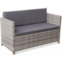 Salon de jardin en résine tressée 4 places Perugia - 1 canapé. 2 fauteuils. une table basse Nuances de gris / Gris