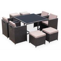 Salon de jardin Vasto Chocolat table en résine tressée 4 à 8 places ...