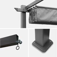 Pergola aluminium - Isla 3x4m - Toile grise - Tonnelle idéale pour votre terrasse. toit rétractable. toile coulissante. structure aluminium