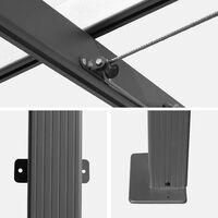 Pergola murale en aluminium - Murum 3x4m - Toile taupe - Tonnelle idéale pour votre terrasse. toit retractable. toile coulissante. structure aluminium