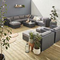 Salon de jardin en résine tressée XXL - Tripoli - Coussins - 14 places Noir / Gris